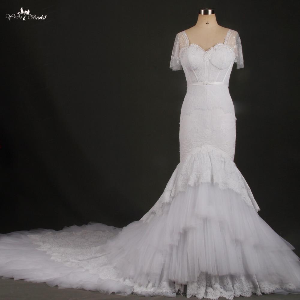 RSW769 Pizzo Bianco A Maniche Corte Cattedrale di Treno Mermaid Abiti Da Sposa Real Photo