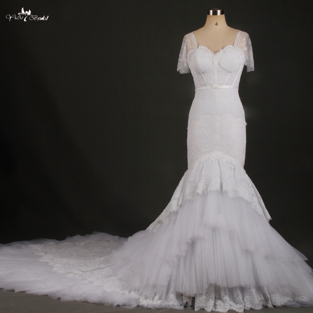 RSW769 Short Sleeve White Lace Cathedral Train Mermaid Wedding Dresses Real Photo