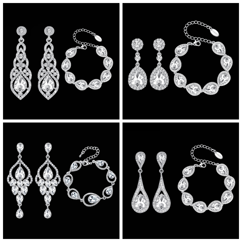 Mecresh Clear Crystal Bridal Jewelry Sets Teardrop Bracelet Earrings Sets Wedding Jewelry for Women Classic Style EH444+SL051(China)