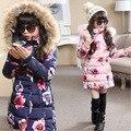 2016 de invierno nuevos grandes vírgenes muchachas de la capa larga sección gruesa chaqueta de algodón acolchado niños patrón de flores outwear caliente-30 grado