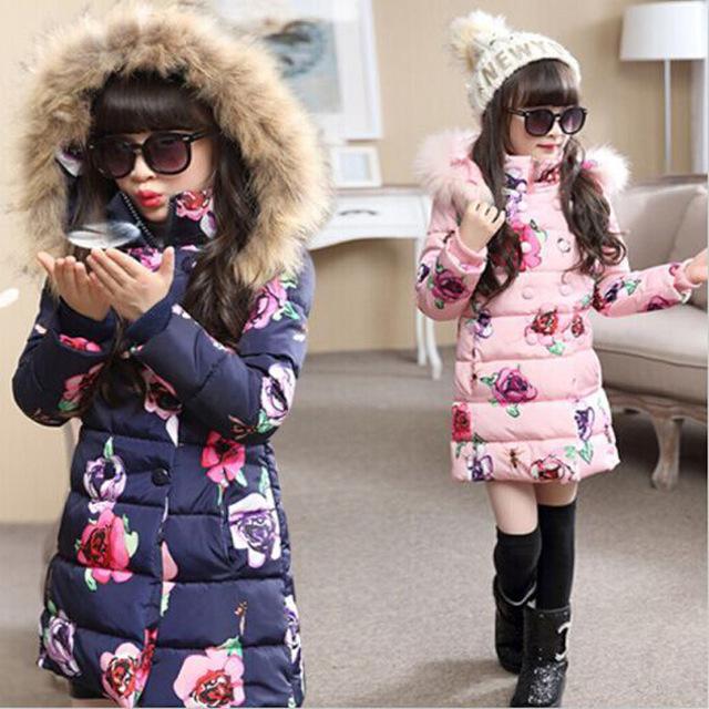2016 inverno nova grande virgem acolchoado casaco meninas longa seção de algodão grosso casaco jaqueta crianças flor padrão outwear quente-30 grau