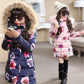 2016 winter new big virgin padded coat girls long section thick cotton jacket kids flower pattern warm outwear -30 Degree