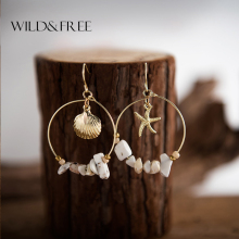 Wild&Free Summer Vintage Gold  Alloy Sea Shell Starfish Dangle Earrings For Women Round Circle With Stone Beads Jewelry