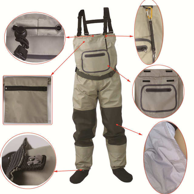 Outdoor Fly Fishing Stocking Foot ,waterproof and breathable chest waders with one buckle accidently rope kits 3