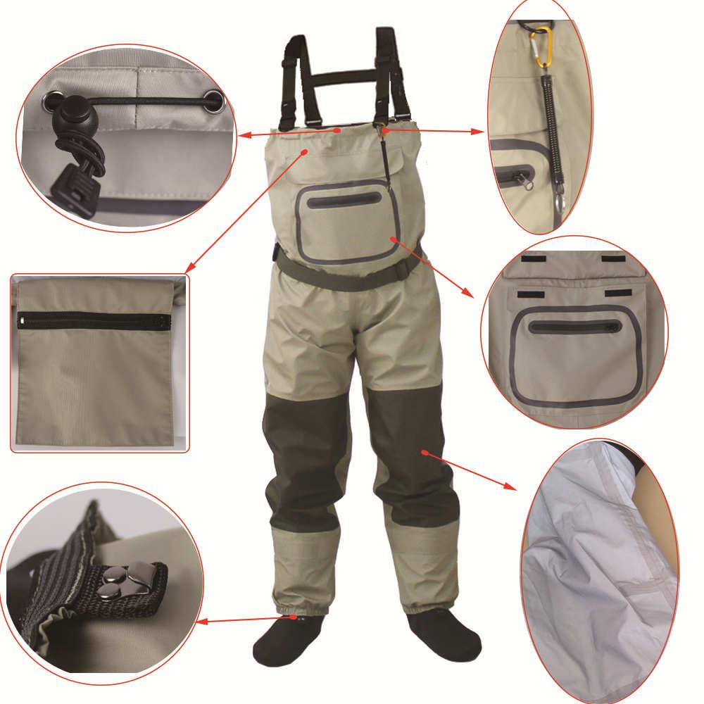 Pied de pêche à la mouche en plein air, cuissardes de poitrine imperméables et respirantes avec une boucle accidentellement kits de corde - 3