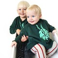 100% Algodón de Primavera Invierno Embroma la camiseta Muchachas de Los Bebés Conejo Verde de Impresión Diseño de La Manga Completa Tops Niños Camisetas