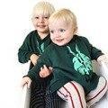 100% Inverno Primavera de Algodão Crianças T Meninos camisa Do Bebê Meninas Coelho Verde Design de Impressão Luva Cheia Tops Crianças Tees