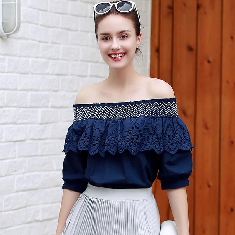 Fashion Summer Ladies Slash Neck Ruffles Women Tops Tees ...