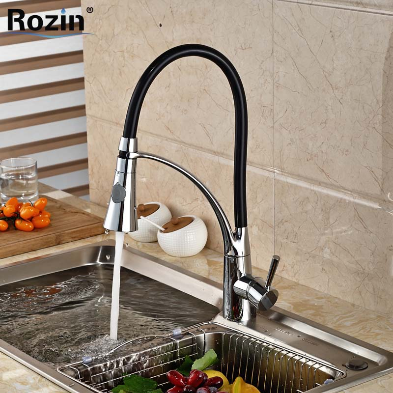 Deck Mount Single Handle Kitchen Faucet One Handle Chrome Brass Kitchen Sink Mixer Tap Dual Sprayer Functions chrome kitchen sink faucet solid brass spring two spouts deck mount kitchen mixer tap