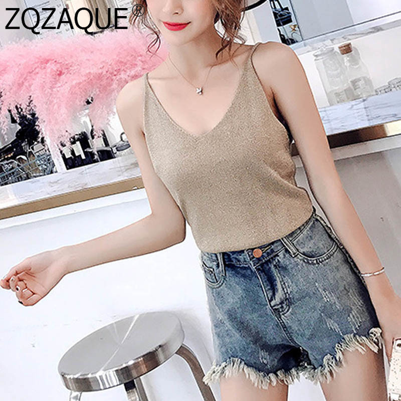 High Quality Cheapest Summer Sleeveless Top Women Tshirt Camis Sexy V Neck Knit Tanks Tops 19 Colors Fashion All-Match T-Shirts