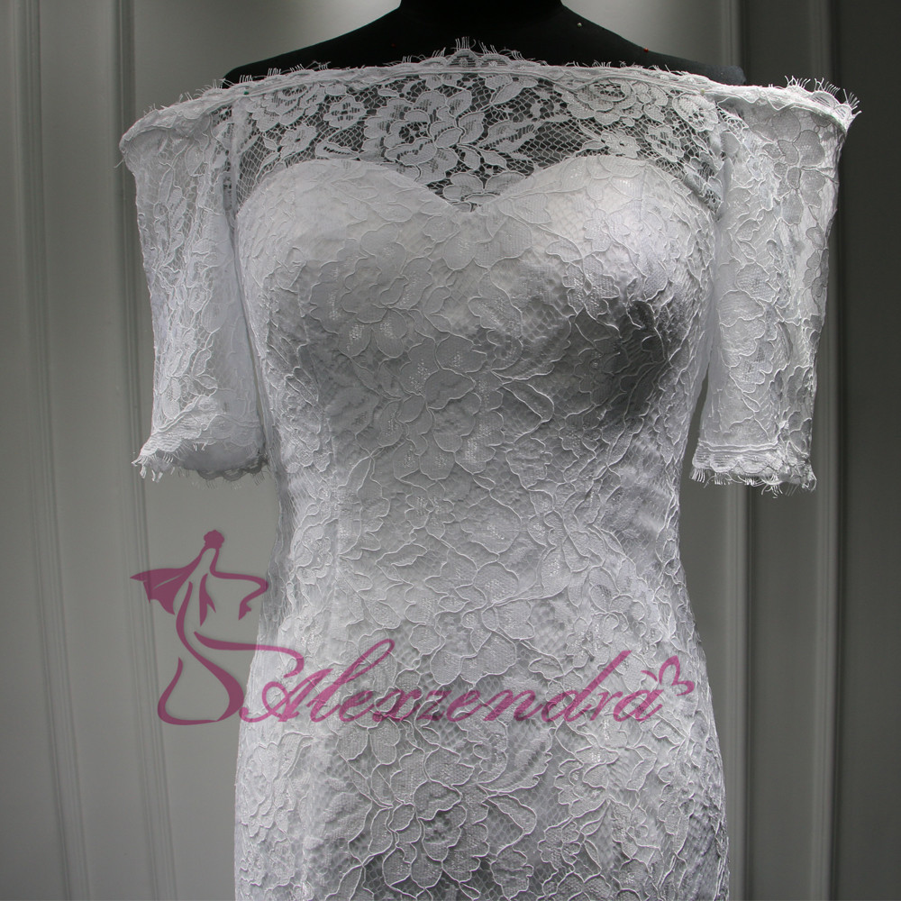 Custom Made New Short Sleeves Lace Mermaid Wedding Dress vestidos de noiva Off the Shoulder Bridal Gowns Wedding Gowns for Bride 5