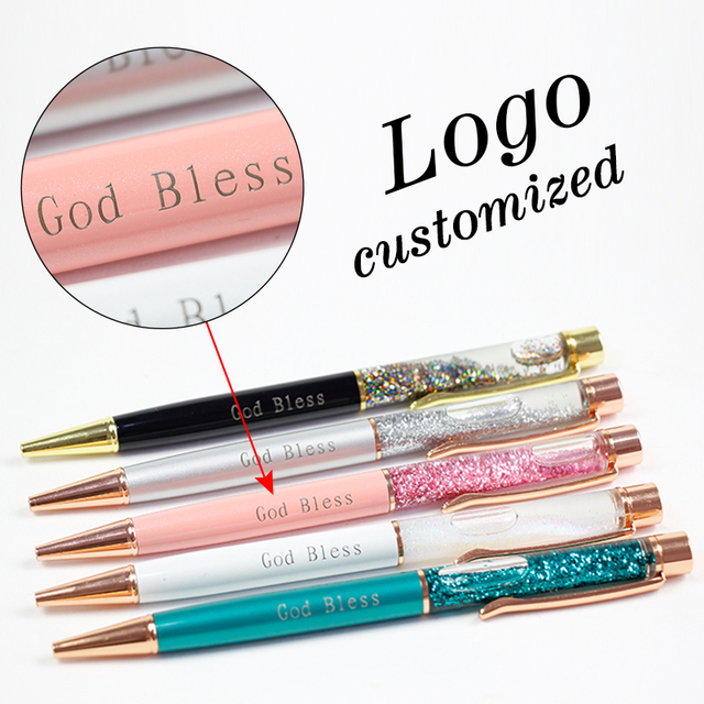 1pc New Gold Foil Pens Metal Ballpoint Pens Office Birthday Gifts Ballpoint Pens Engraved Name Private Laser Customized Logo Pen