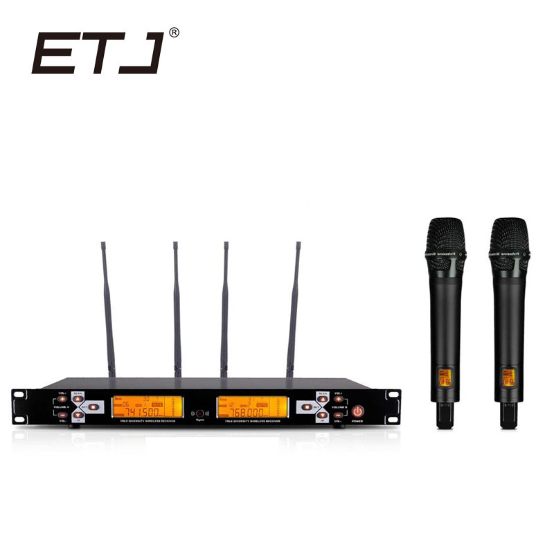 ETJ Brand UR1000D True Diversity Professional UHF Wireless Microphone 2 Transmitter 4 Receiver Stage Performance Microphone ugx88 professional one to four wireless microphone professional stage performance meeting the sound box condenser microphone