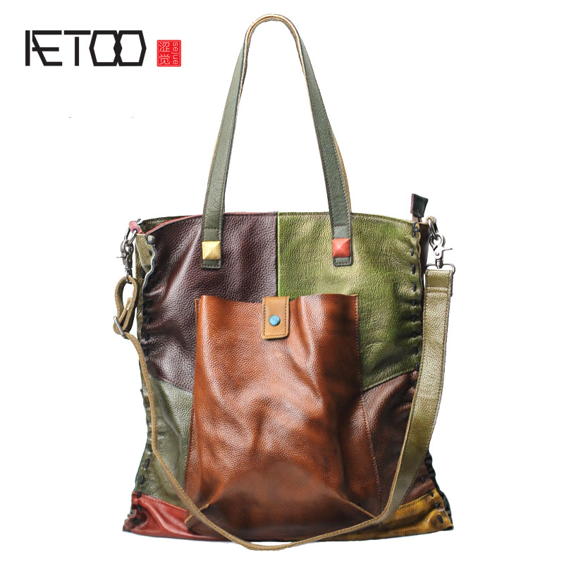 AETOO Leather handbags first layer of large-capacity leather bag British tide package spell color bag shoulder Messenger bag qiaobao women general genuine leather handbags tide europe fashion first layer of cowhide women bag hand diagonal cross package