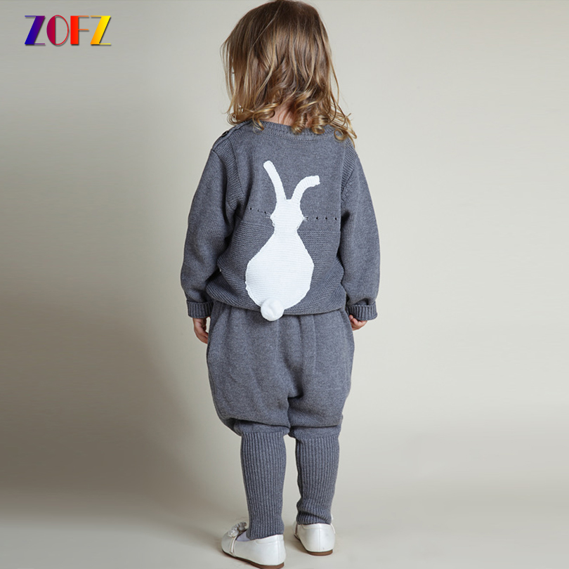 ZOFZ Kids Clothes Cartoon Sweater and Solid Pant 2 Pcs Set For Toddler Girls Autumn Winter Suit Cute Knitting Baby Clothing Sets baby clothes sweater sets autumn girls clothing christmas suit toddler cothing boy clothes penguin clothing for newborns girl
