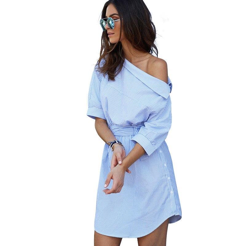 2017 de un hombro Azul a rayas vestido de las mujeres camisa Sexy side dividir E