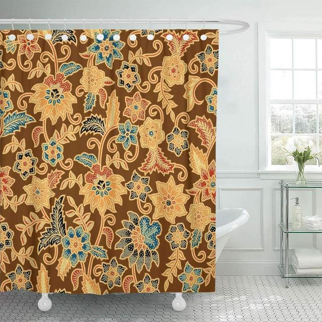 Fabric Shower Curtain with Hooks Java Batik Pattern Able