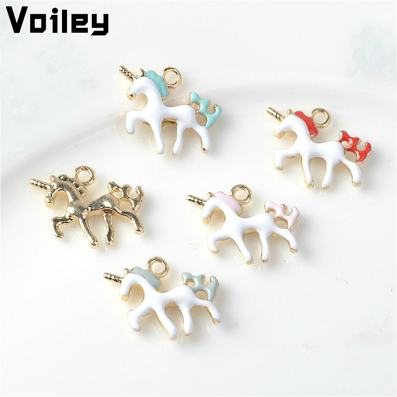 Unicorn Party Decorations 5pcs Alloy Enamel Animal Unicorn Charms Pendant DIY Accessory for Wedding Birtday Party Decor Gift,Q