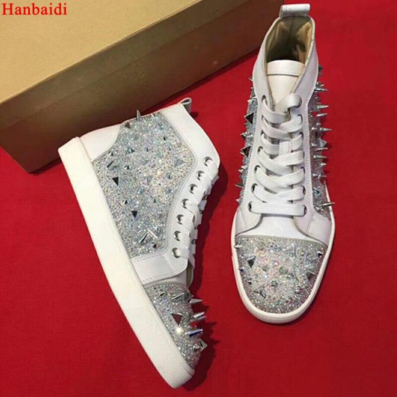Hanbaidi бренд Форма заклепками Для мужчин кроссовки со стразами высокие кроссовки Повседневная обувь для подиума дым обувь Для мужчин 2018 46