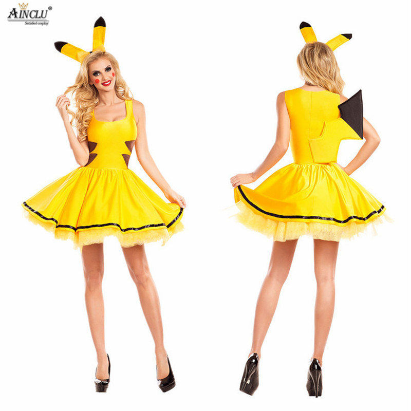 2018 Naruto Pokemon Pikachu Costumes Women Cosplay Halloween Costume and Christmas Party Dress Adult Animal Cute Clothing