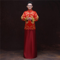 bridegroom wedding toast costumes male red cheongsam Chinese style groom dress jacket long gown traditional China Qipao for mens
