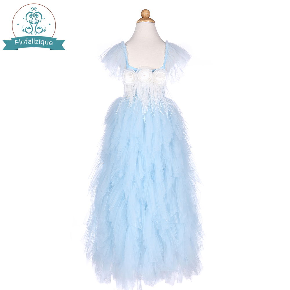 flower girls dresses ball gown wedding girls frock soft tulle ruffles dress feathers and handmade flower fit special occasion платье frock and frill frock and frill fr055ewdlds8