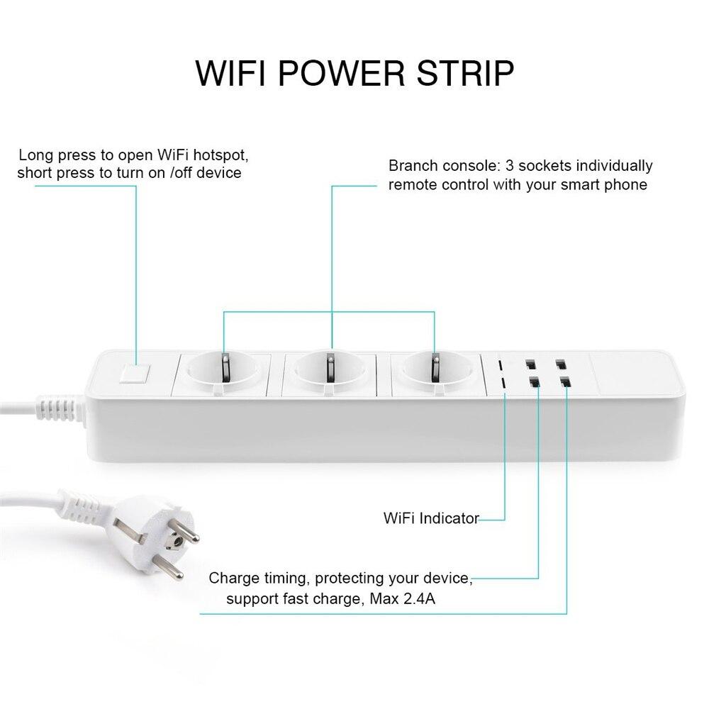 Rdxone Smart Wifi Power Strip wifi plug Sockets 4 USB Port Voice Control for Amazon Echo Alexa 39 s Google Home Timer in Smart Power Socket Plug from Consumer Electronics