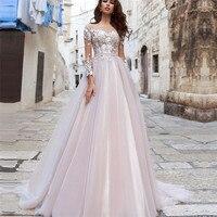 Pink Long Sleeves Wedding Dress 2019 Lace Appliques Bride Dresses Custom Made Bridal Gown Back Button Vestido de Noiva