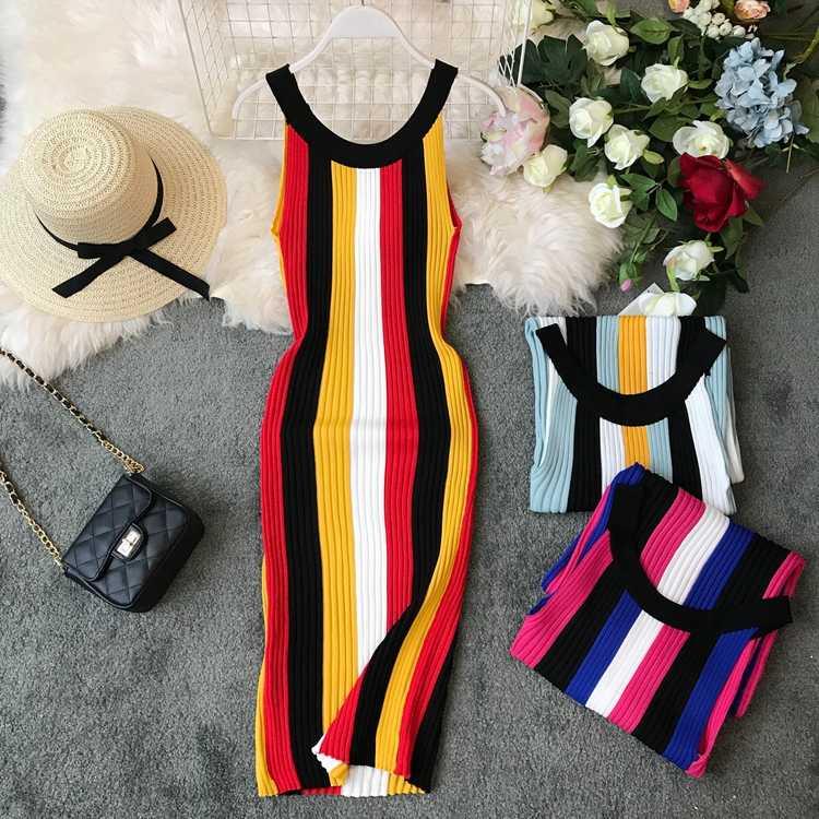 ALPHALMODA Лето 2019 Новинка Круглый вырез Радуга вертикальная полоса женское винтажное сексуальное вязаное платье пуловеры без рукавов дамы Vestido