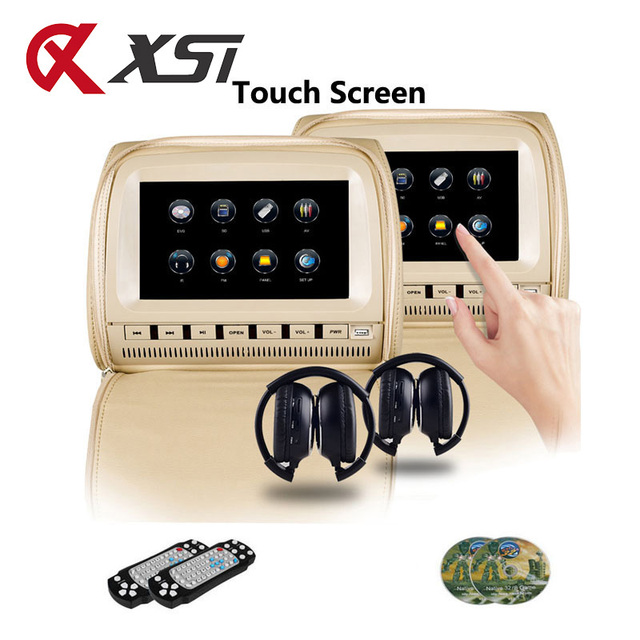 XST Monitor de 9 pulgadas para reposacabezas de coche, pantalla táctil, reproductor de DVD, vídeo MP5, cubierta con cremallera, compatible con IR/FM/USB/SD/altavoz/juego, 2 uds.