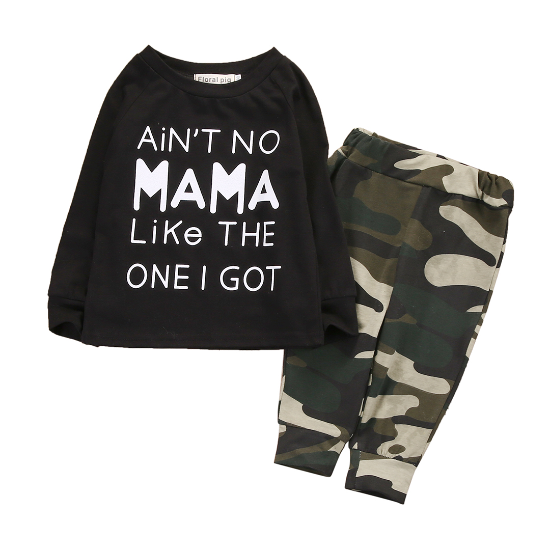2PCS Set Newborn Baby Boy Clothes Long Sleeve Mama Pullover T-shirt Tops + Camouflage Pants Trouser Outfit Toddler Kids Clothing new 2017 aint a woman alive that could take my mama s place black baby girl boy kids minions clothes t shirt tops blusas mujer