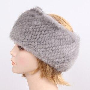Image 5 - 女性冬の本物のミンクの毛皮のリングスカーフ良好な弾性ニット本物のミンクの毛皮厚く暖かい女性の自然毛皮ヘッドバンドショール