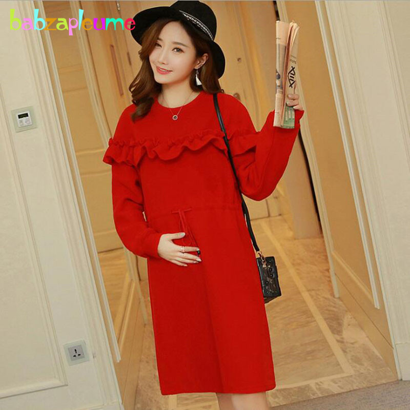 Autumn Winter Women Pregnant Dress Red Knitted Sweaters Fashion Maternity Wear Pregnancy Clothes Korean Warm Long Dresses BC1646 maternity clothes fall pregnant women sweater knitting dress autumn winter knitted female loose warm pullover cute lady dresses