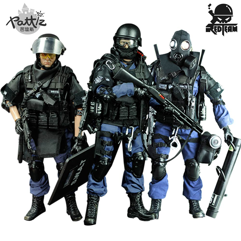 PATTIZ 1/6 Bilancia Militare Solider Figura Giocattoli Set Da Collezione US Swat Modello di Team di Vestiti FAI DA TE Bambola Action Figure Pistola Giocattolo per I Ragazzi