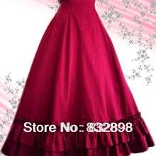 Горячая Распродажа красная длинная гофрированная хлопковая юбка лолита