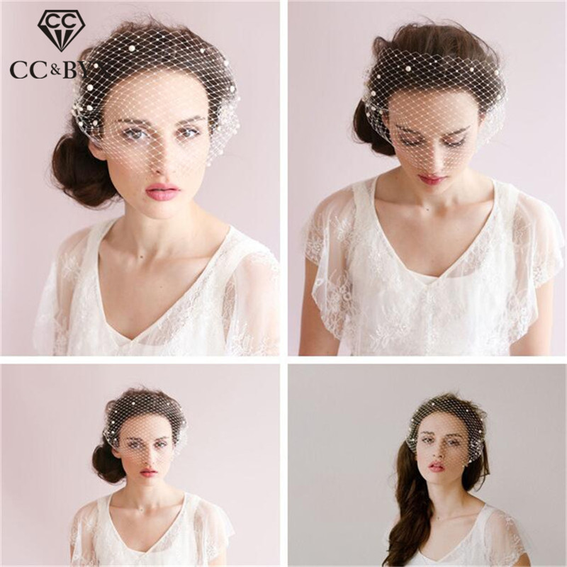 CC Jewelry Short Veil With Combs Hats Bride Pearl Hollow