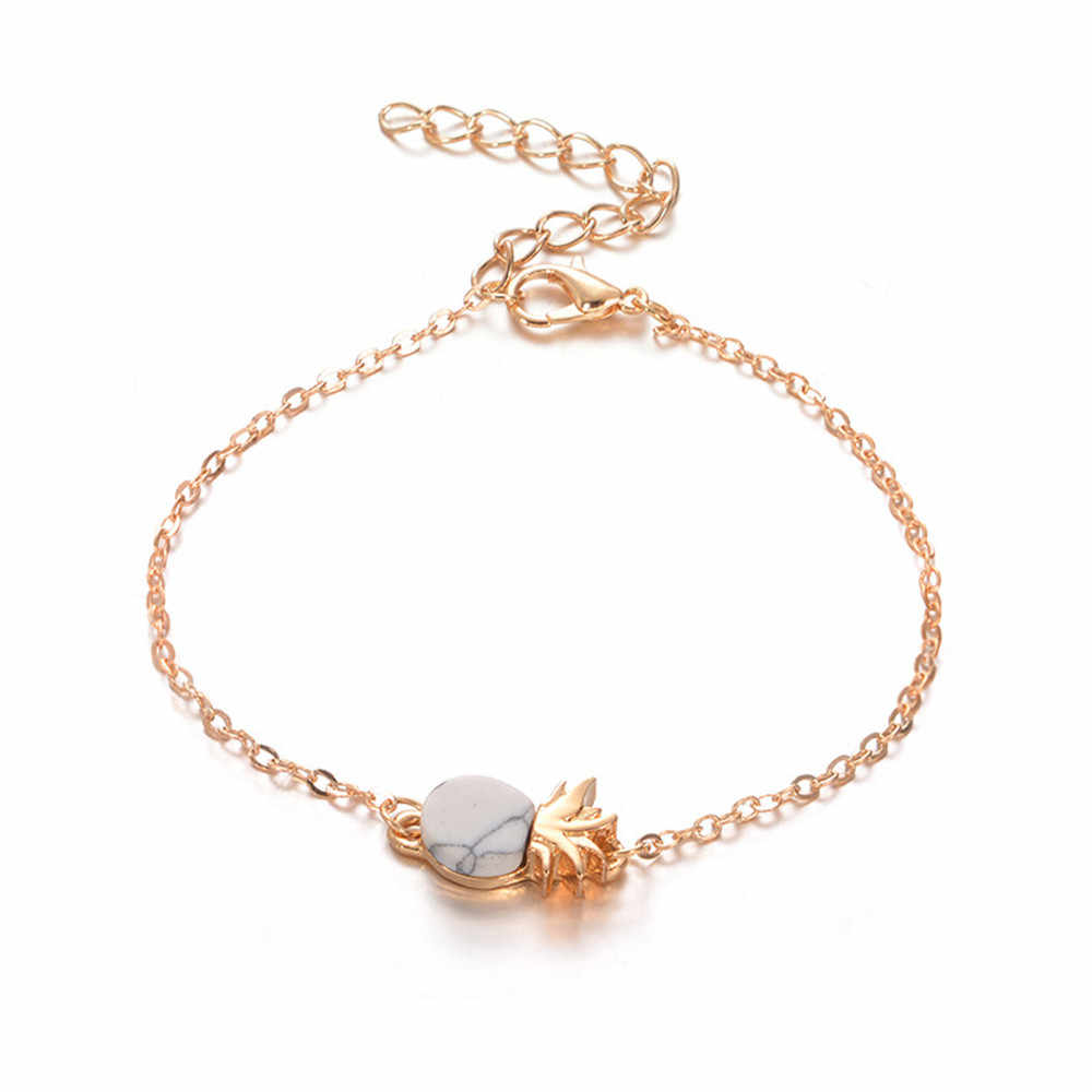 Korean New Women Vintage Cute Pineapple Fruit Bracelet Wrist Chain Charm Jewelry Gift Womens Men unique Dropship accessories