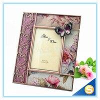 나비 디자인 유리 금속 사진 프레임 결혼 선물