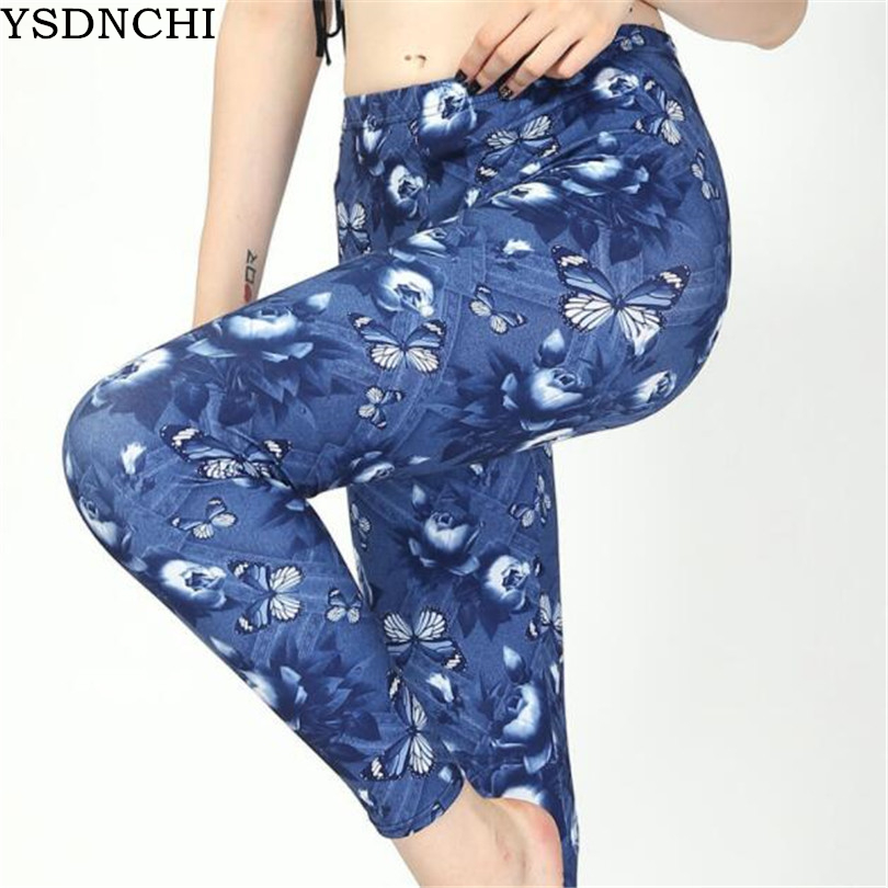 YSDNCHI Sexy Legging Faux Denim Jeans Butterfly Printing Legging Summer Hot Women High Waist Pants Fitness Leggings Dropship