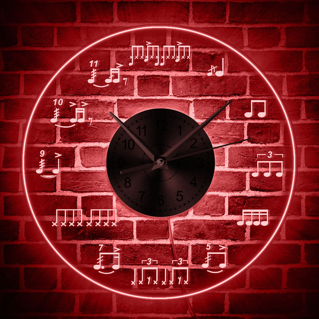1piece drum notes rudiments music notes led lighting wall clock with 1piece drum notes rudiments music notes led lighting wall clock with color changing 12acrylic aloadofball Images