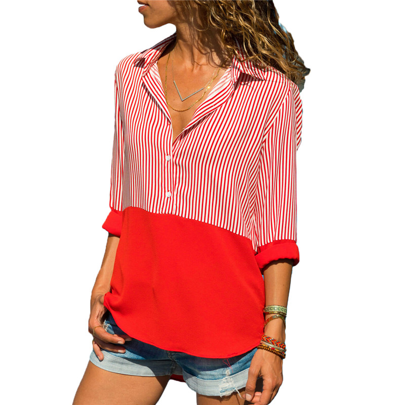 Autumn Casual Striped Loose Women Long-sleeved Shirt Female Blouse Chiffon Top Shirt Plus Size Fashion Casual Clothing Red Black