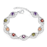 Pretty Colorful Multi Colors Real Zircon Bracelets 925 Sterling Silver With Extender Woman Lady Bracelet Bangle