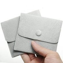 Серые бархатные маленькие подарочные пакеты для украшений Кольцо Кулон мешочек Сумочка бисер на ручную сумку браслет держатель Органайзер 30 шт./лот