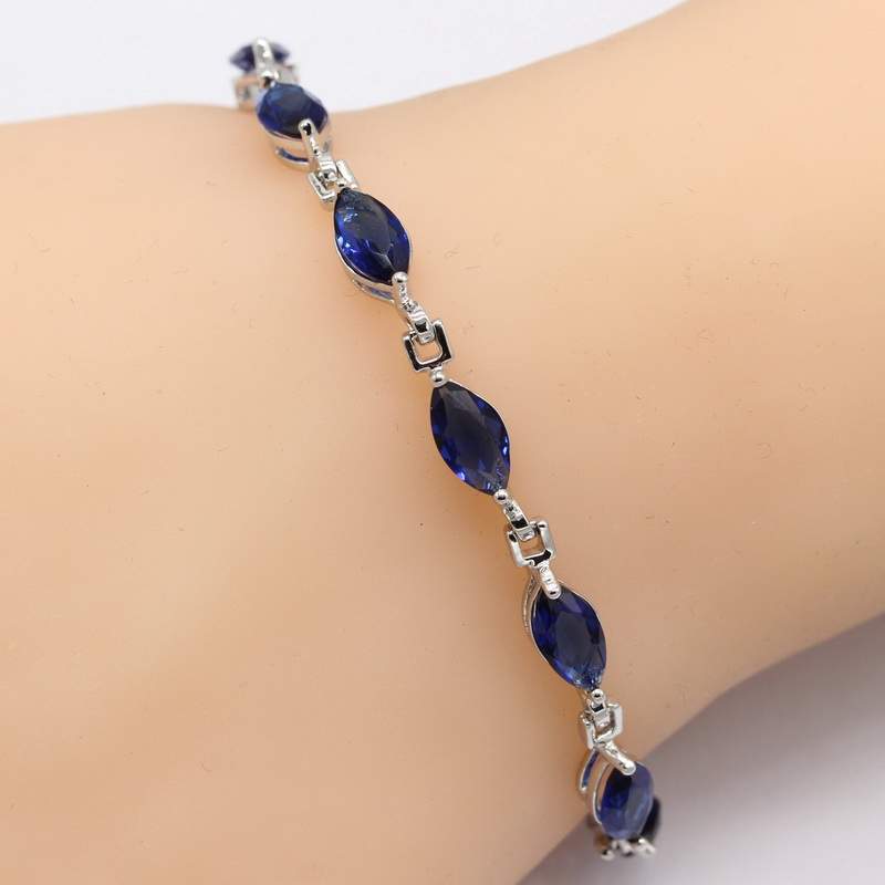 Wholesale EIOLZJ 925 Sterling Silver Bracelet For Women Rugby Dark Blue Synthesis CZ Pure Silver Fashion Jewelry Free Shipping