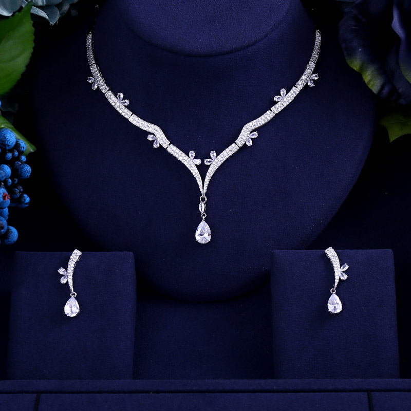 Initiative Newest Luxury Sparking Brilliant Cubic Zircon Clear Earrings Necklace Heavy Dinner Jewelry Set Wedding Bridal Dress Accessories