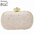 3 Colors Women's Fashion Large Stone Hot Fixed Champagne Crystal Evening Bags Wedding Bridal White Metal Clutches Handbags Purse
