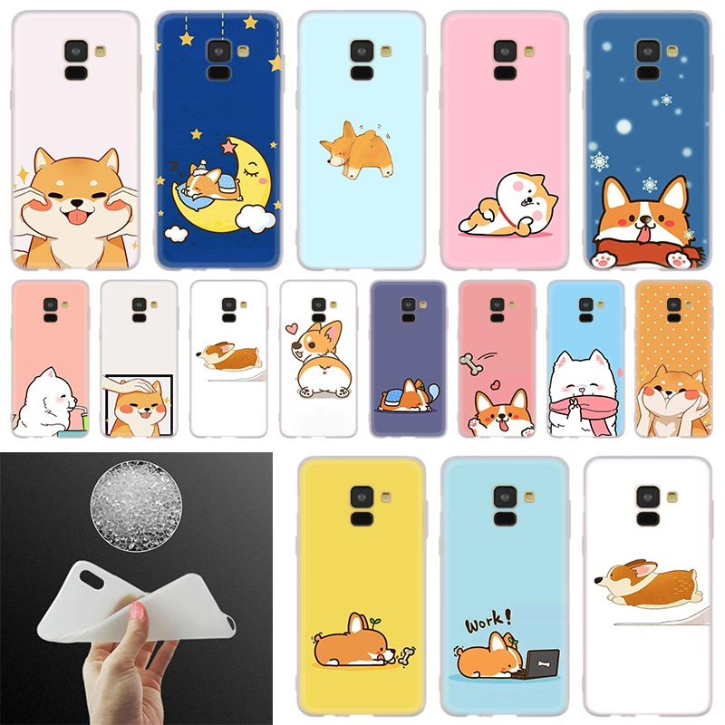 cute shiba Corgi <font><b>dog</b></font> Soft Cover <font><b>Phone</b></font> <font><b>Case</b></font> For <font><b>Samsung</b></font> <font><b>Galaxy</b></font> A50 A10 A20 A30 A40 A60 A70 A6 A8 Plus A7 A9 2018 <font><b>A3</b></font> A5 <font><b>2017</b></font> A90 image