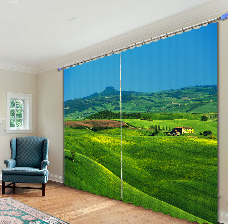 Beautiful green countryside Curtains 3D Photo Printing Blackout For Window Living Room Bedding Room Hote Office Sofa Decoration
