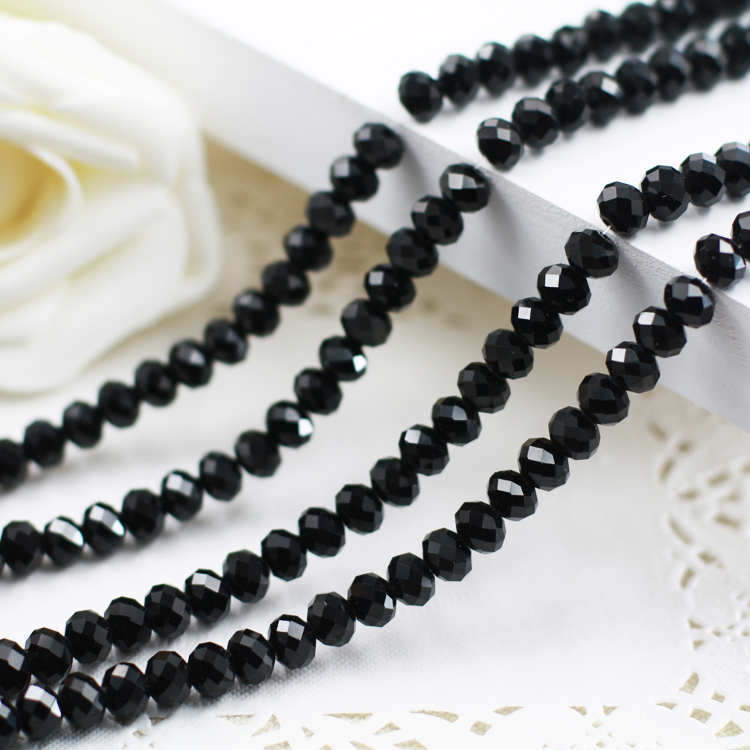 5040 AAA Top Black Color Loose Crystal Glass Rondelle beads.2mm 3mm 4mm, 6mm, 8mm 10mm, 12mm Free Shipping!