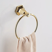 AUSWIND Vintage Classical Soild Brass Towel Ring Hexagonal Base Gold Or Black Color Wall Mount Bathroom